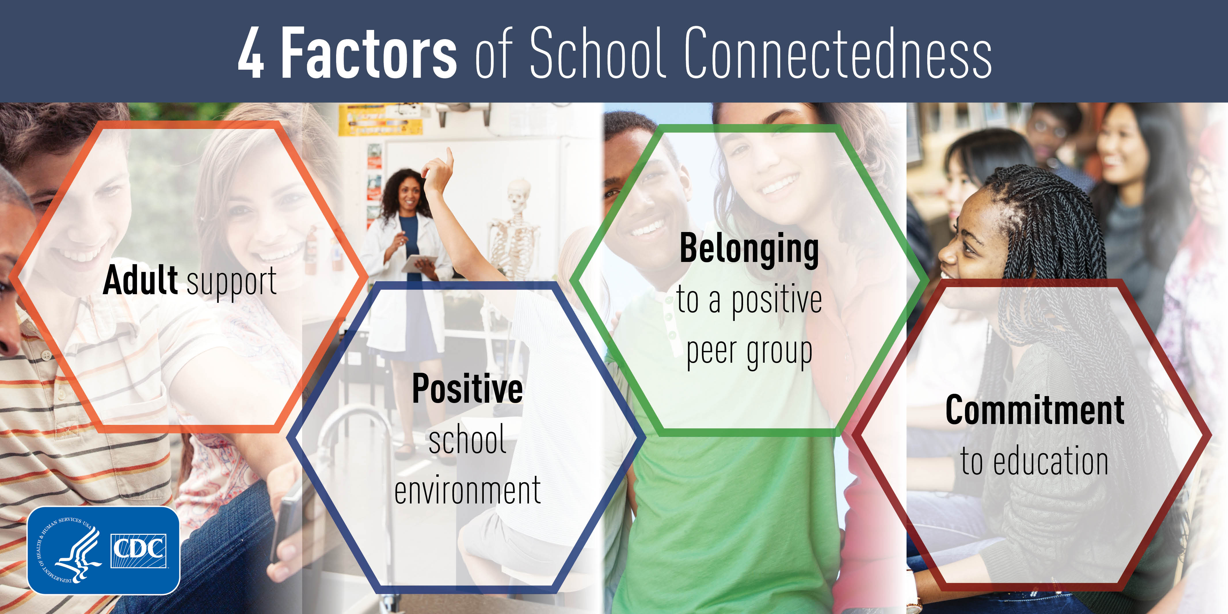 4 factors of school connectedness: adult support; positive school environment; belonging to a positive peer group; commitment to education