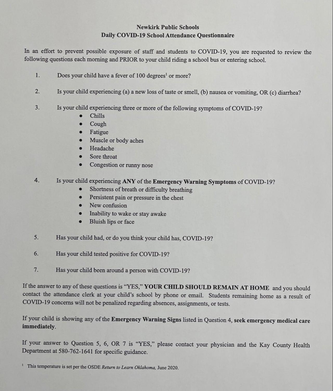 attendance questionnaire