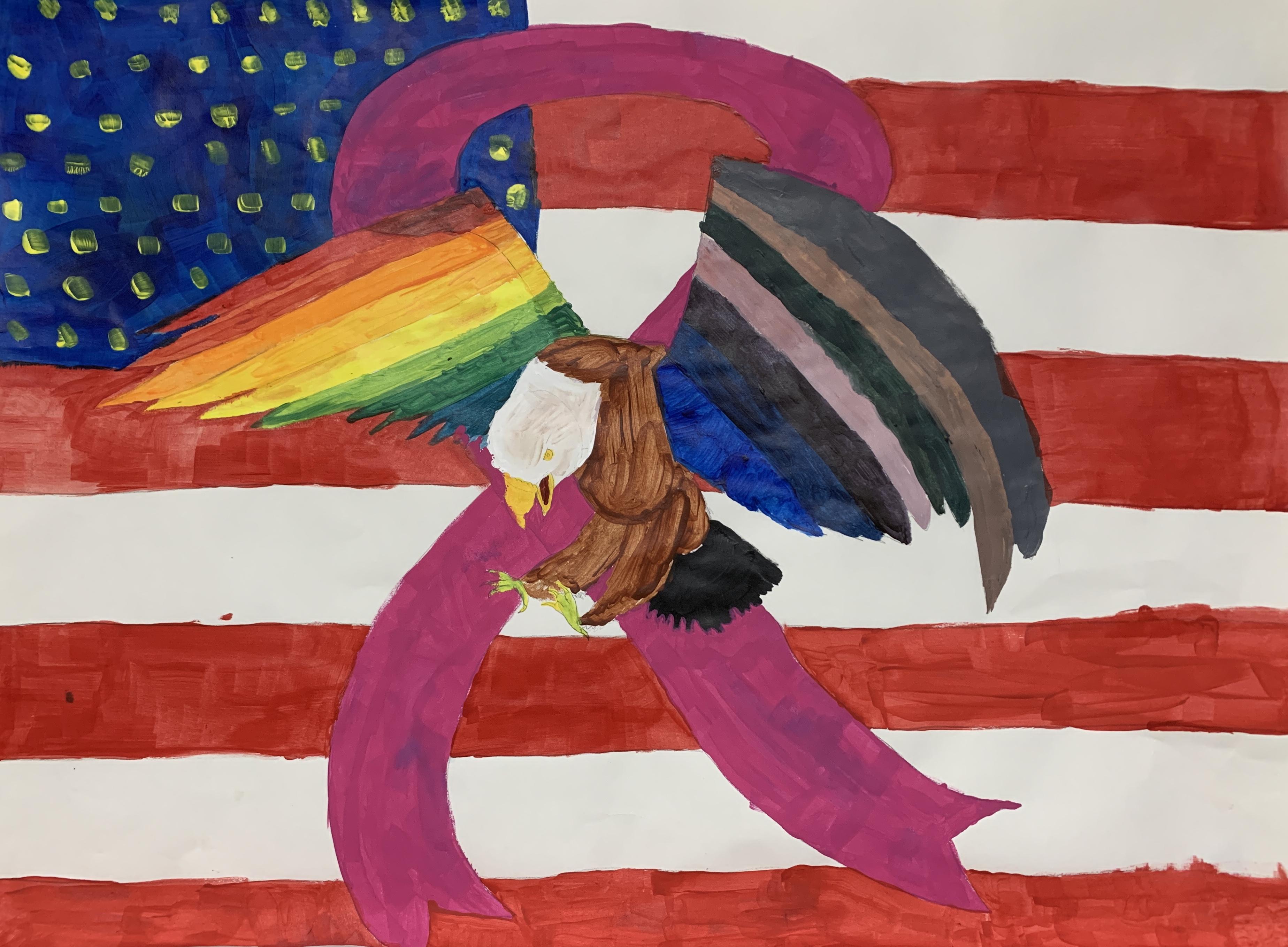 Students color wheel project - bald eagle