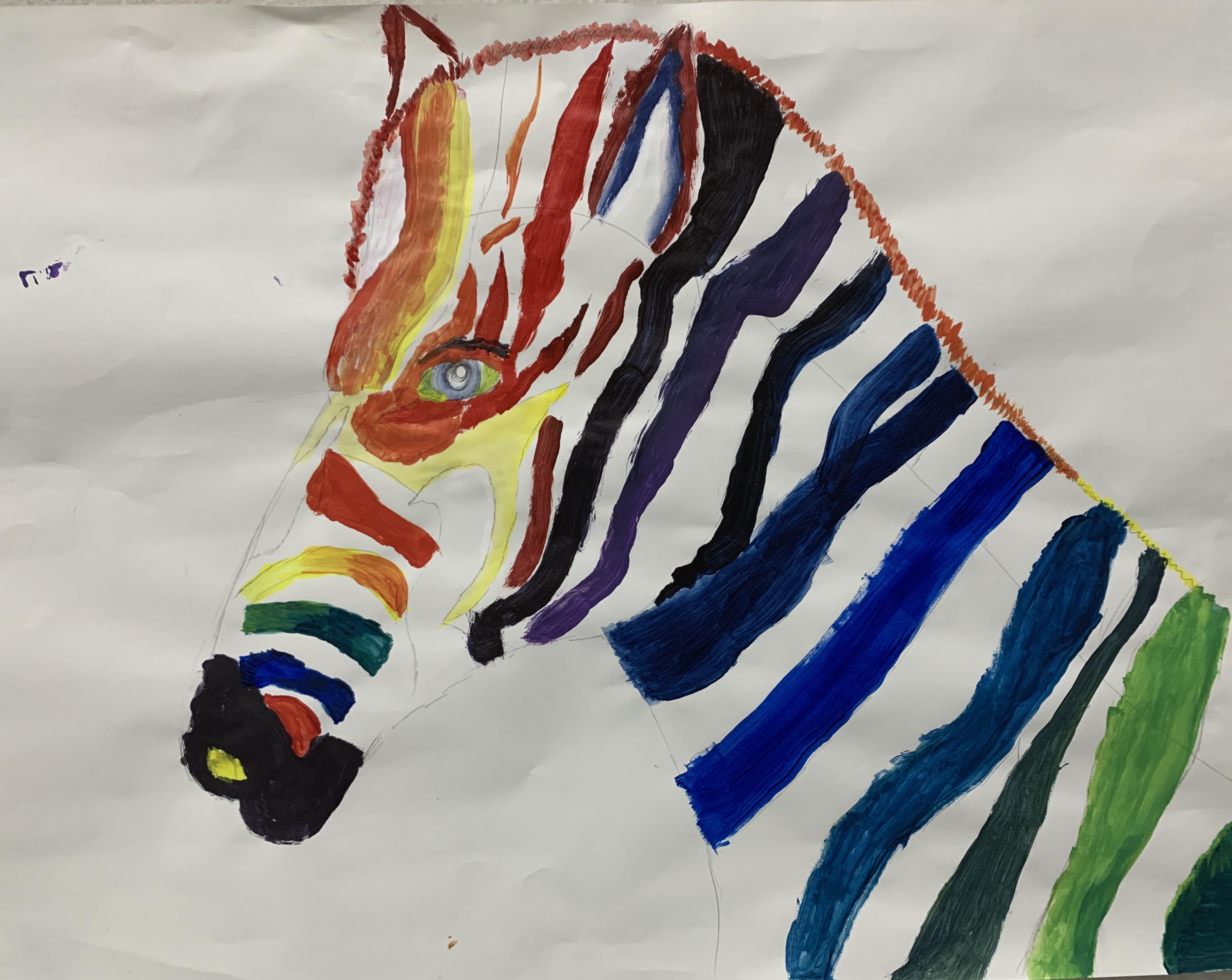 Students color wheel project - zebra