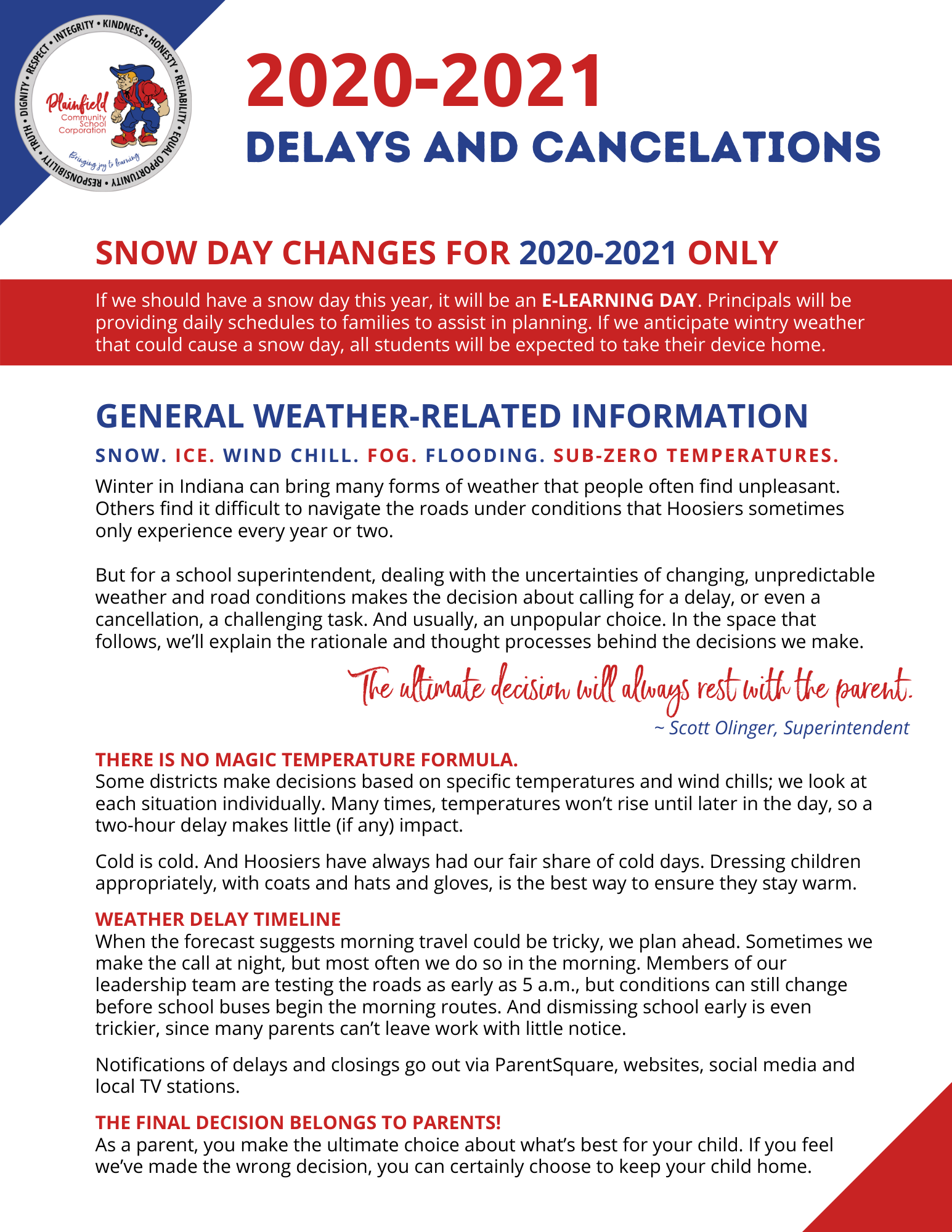 2020-2021 Delays and Cancelations