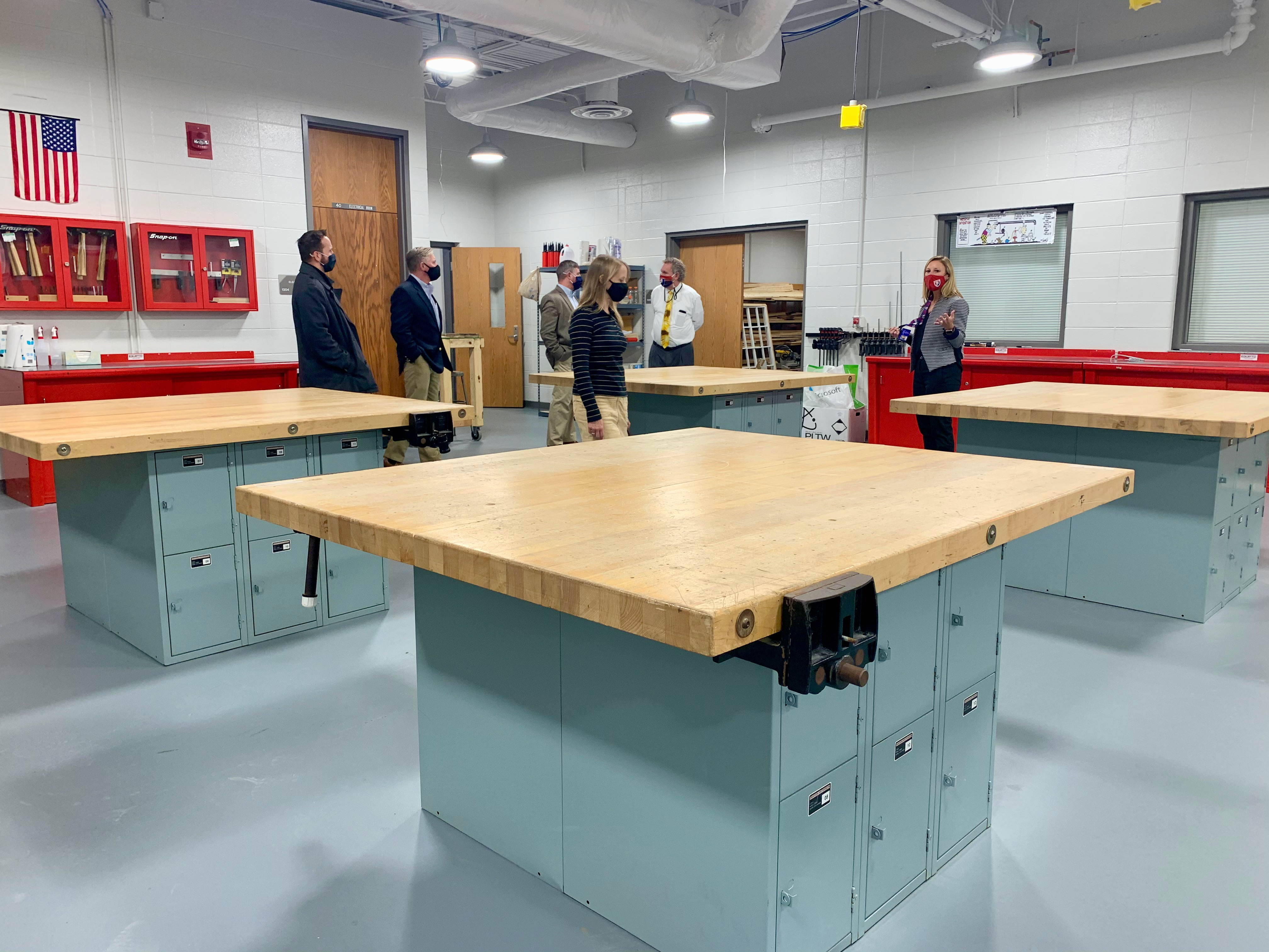 School Board members toured the PCMS renovations this Fall, including this lab featuring state-of-the-art equipment.