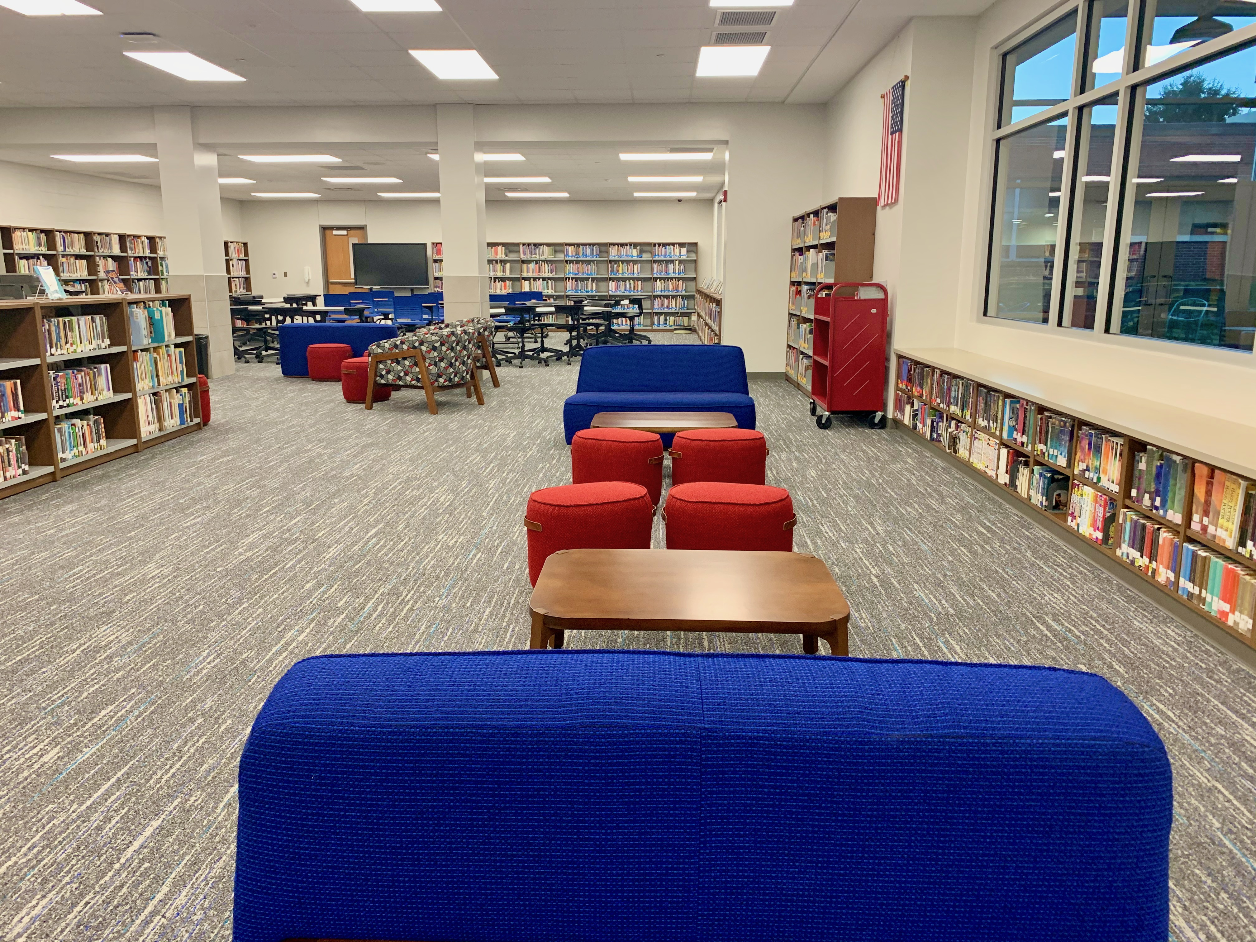 The newly renovated Media Center includes plenty of books and reference materials, in addition to collaborative spaces, flexible seating and a bright and welcoming ambiance.