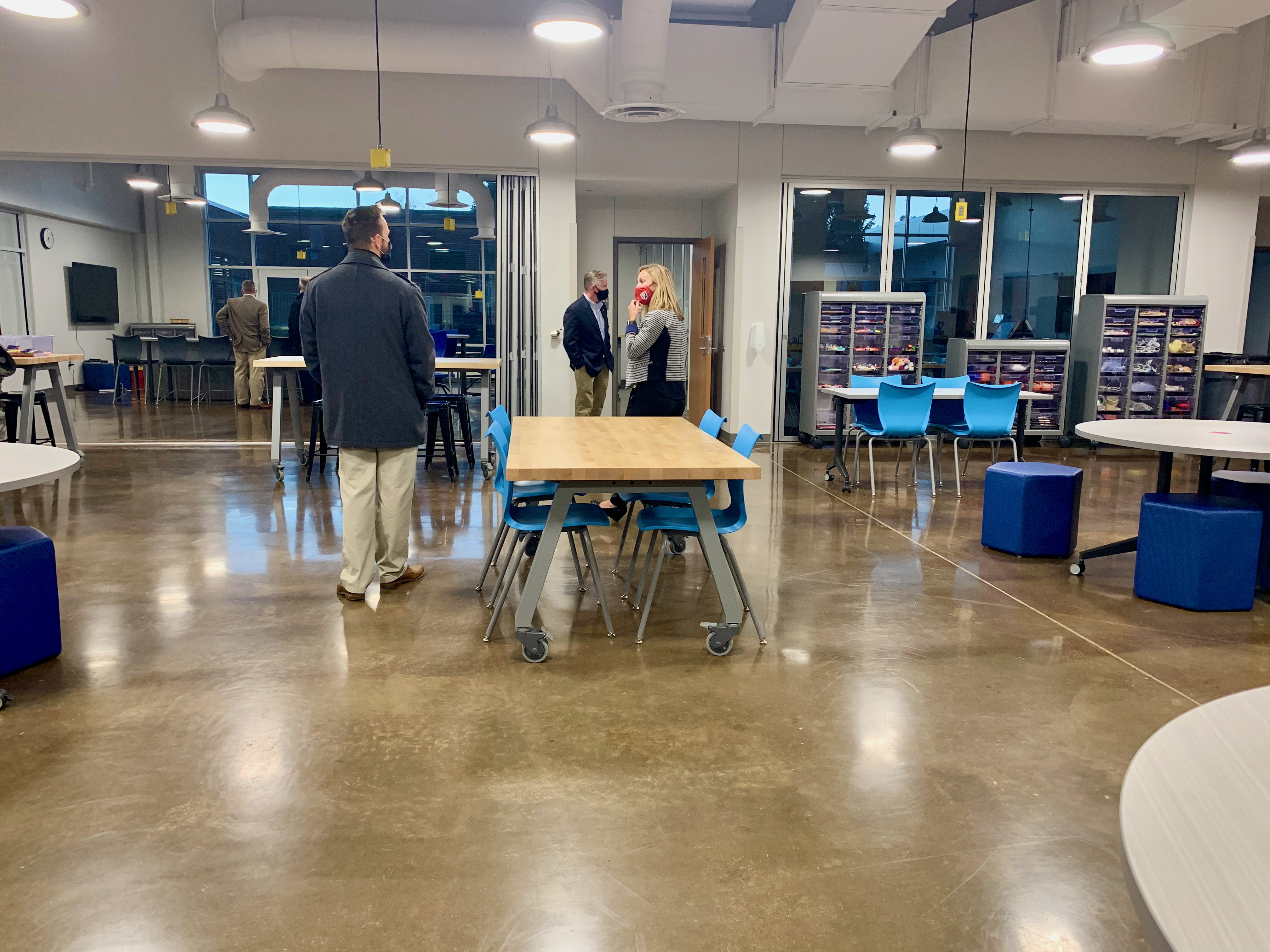 The PCMS Idea Lab is a favorite place for teachers and students to visit for STEM- and other collaborative projects. Plenty of wide-open space, supplies of all sorts, and sinks to clean up messes made during exploration.