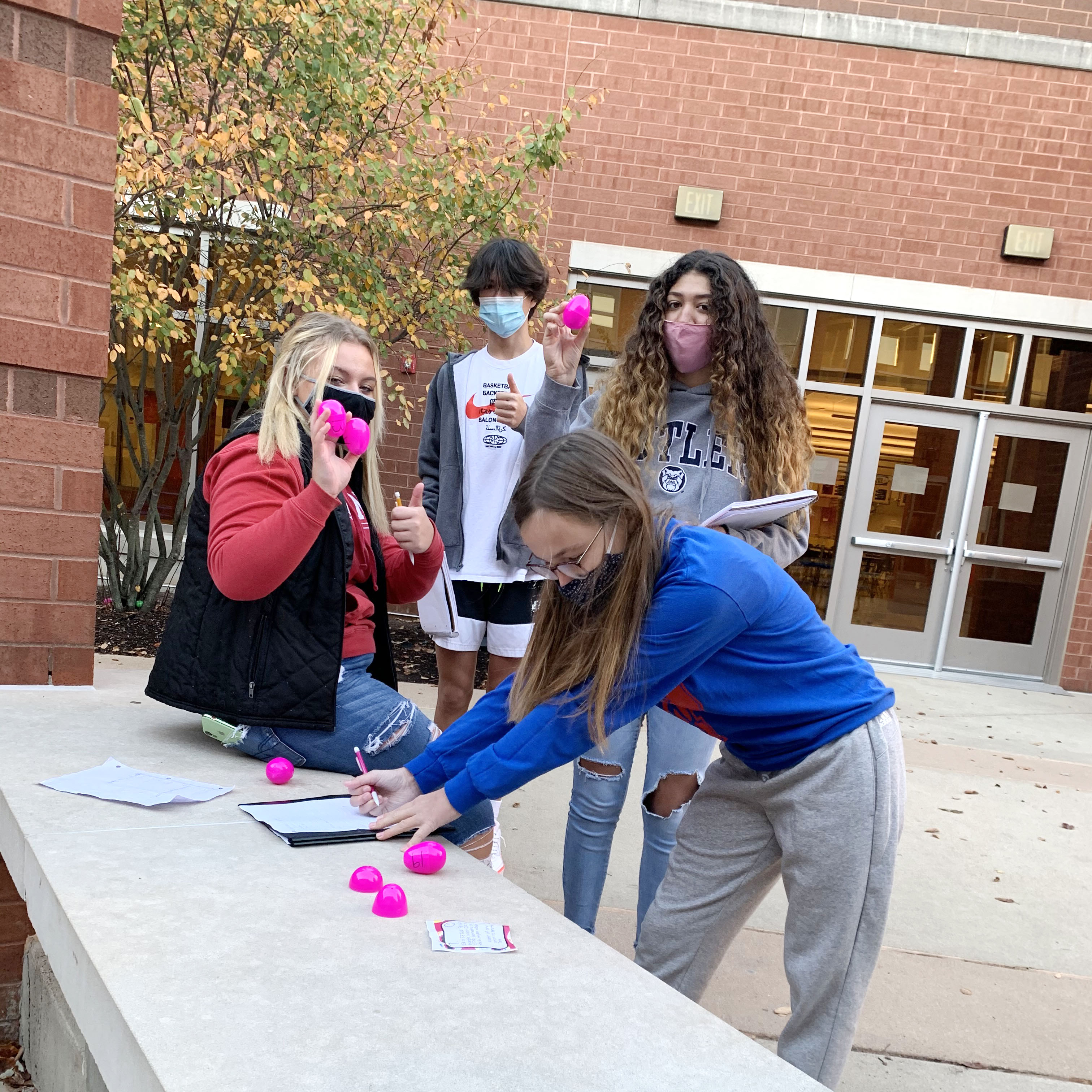 PHS students (and teachers) take advantage of outdoor spaces for class projects.