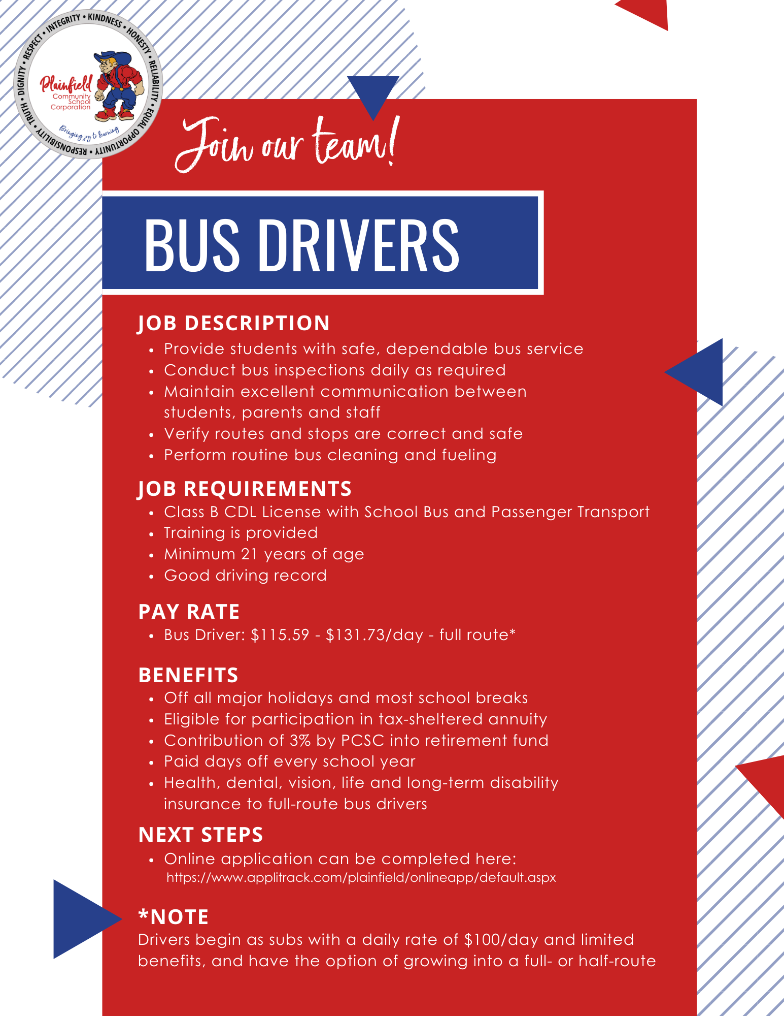 Details about being a bus driver with Plainfield Schools
