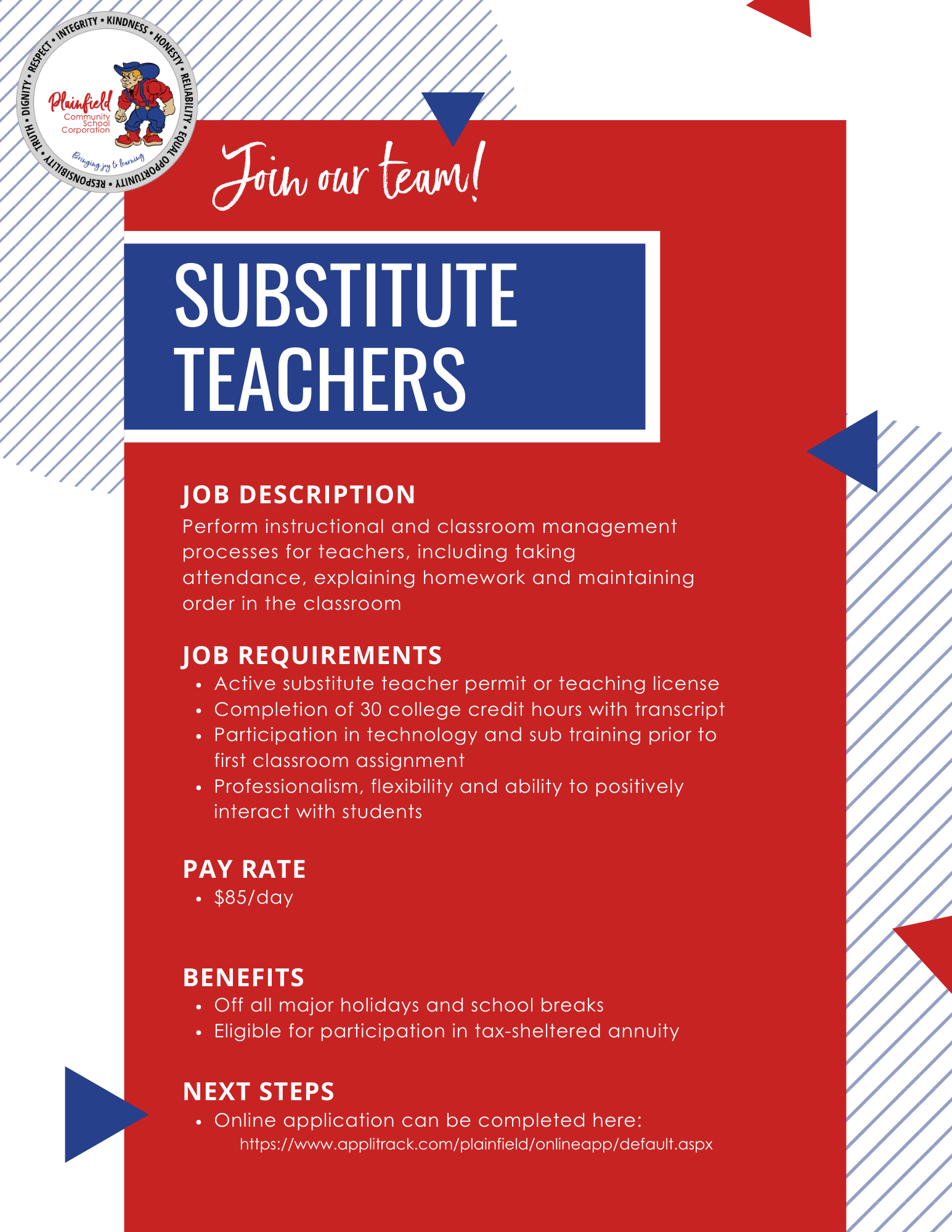 Information about being a substitute teacher in Plainfield Schools
