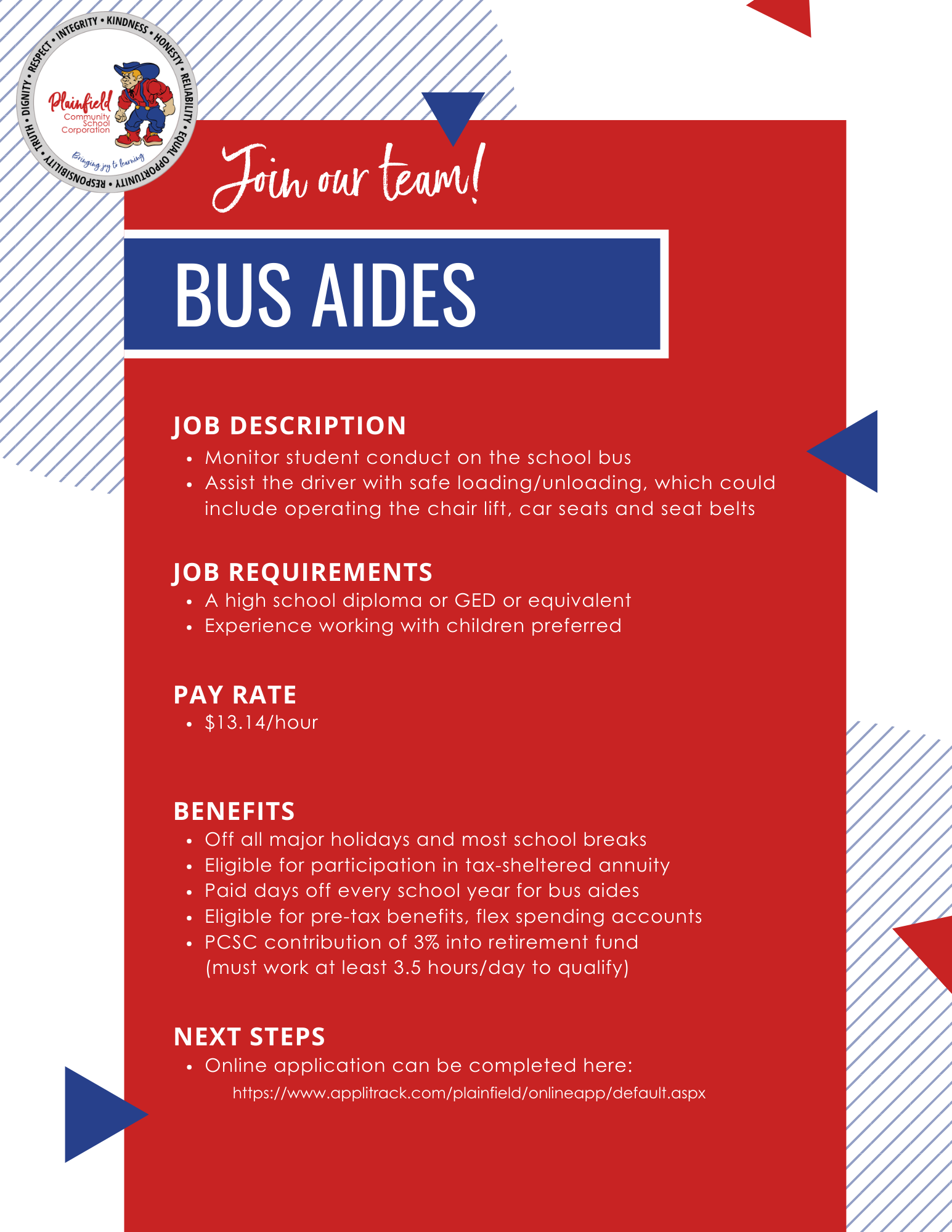 Information about being a Bus Aide with Plainfield Schools