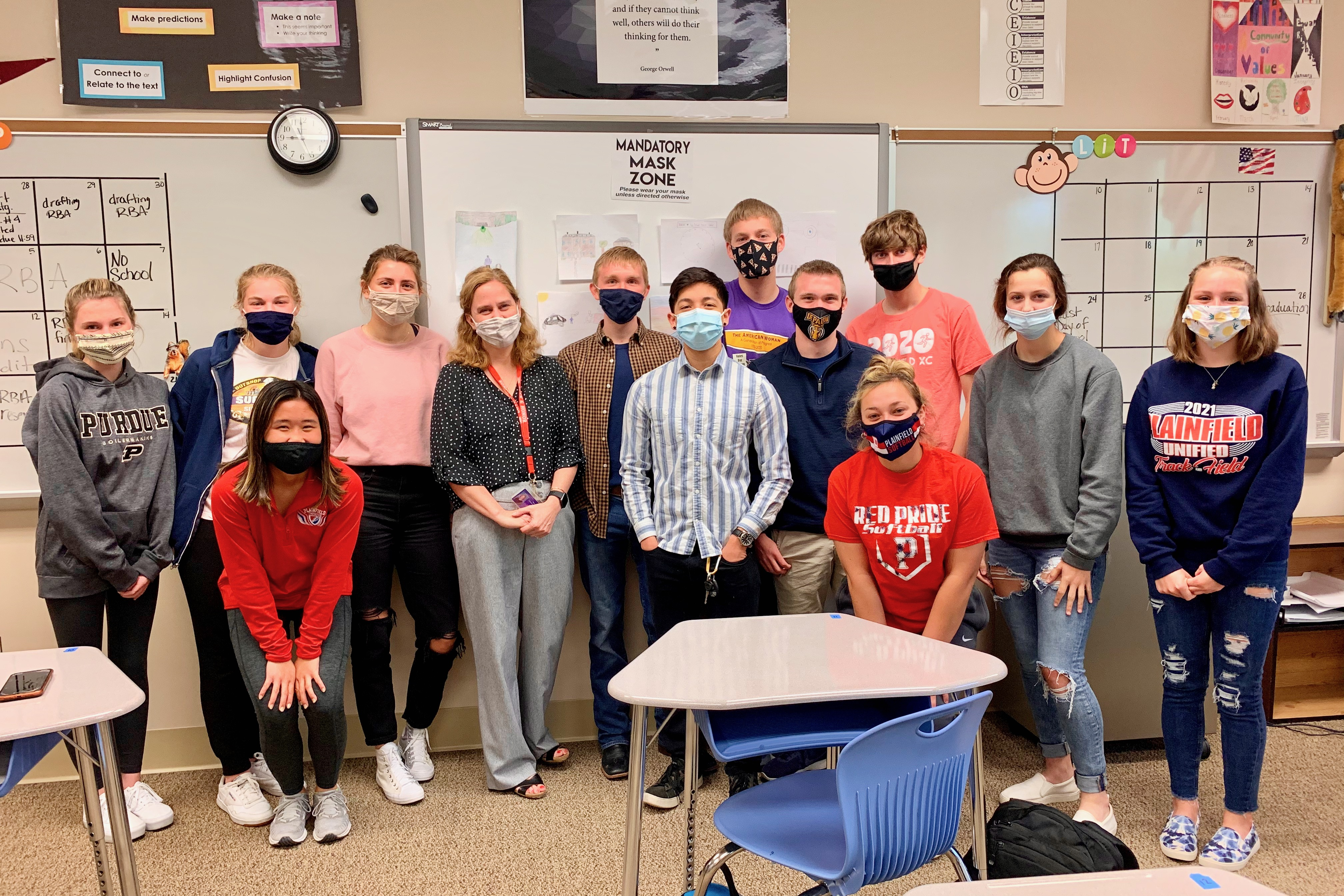 2022 Plainfield Teacher of the Year, Liza Payton, shown here with her AP Seminar English class.