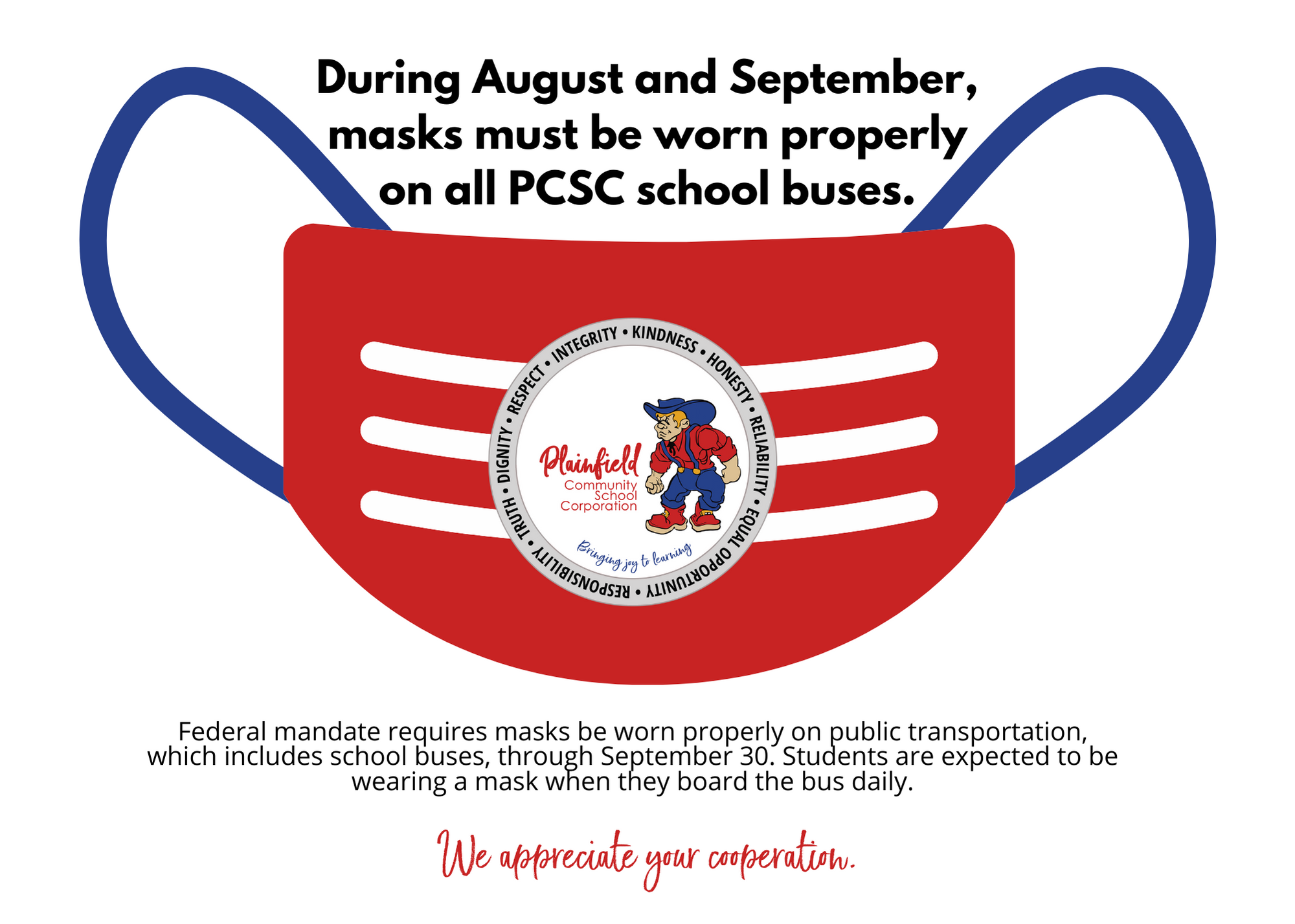 For August and September, based on federal mandate, masks are required on school buses.