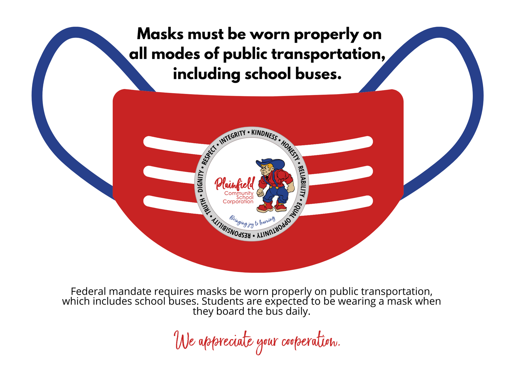 Masks must be properly worn on PCSC school buses