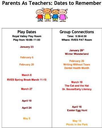 Parents as Teachers: Dates to Remmeber