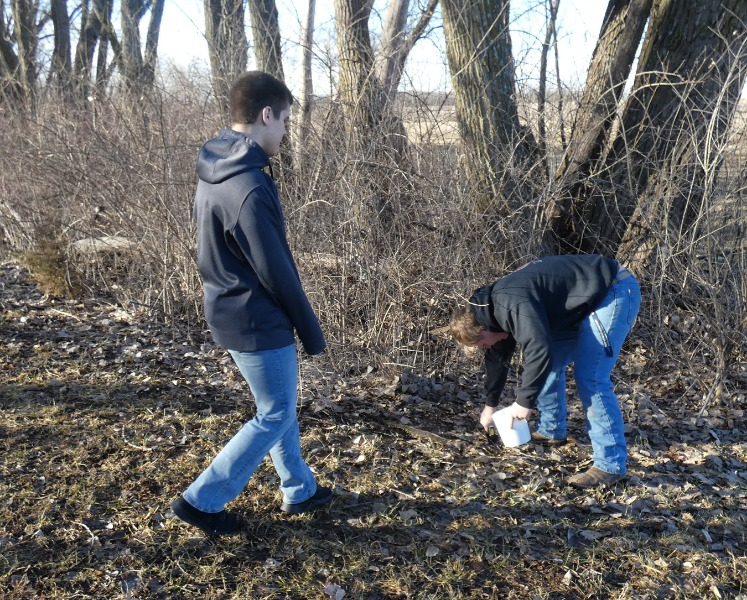 Students gathering soil for their experiment