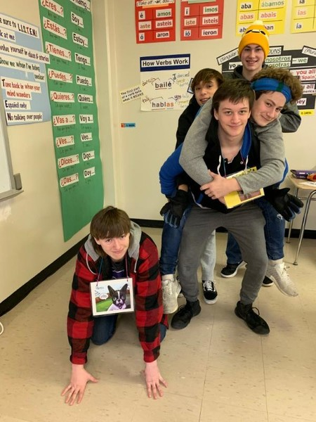 Students acting out a graphic novel