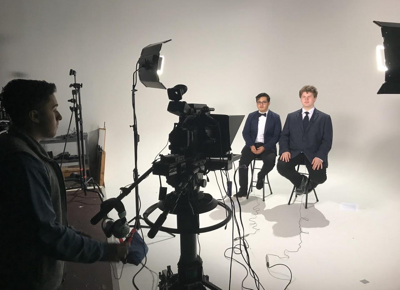 Students recording a student-led studio news program