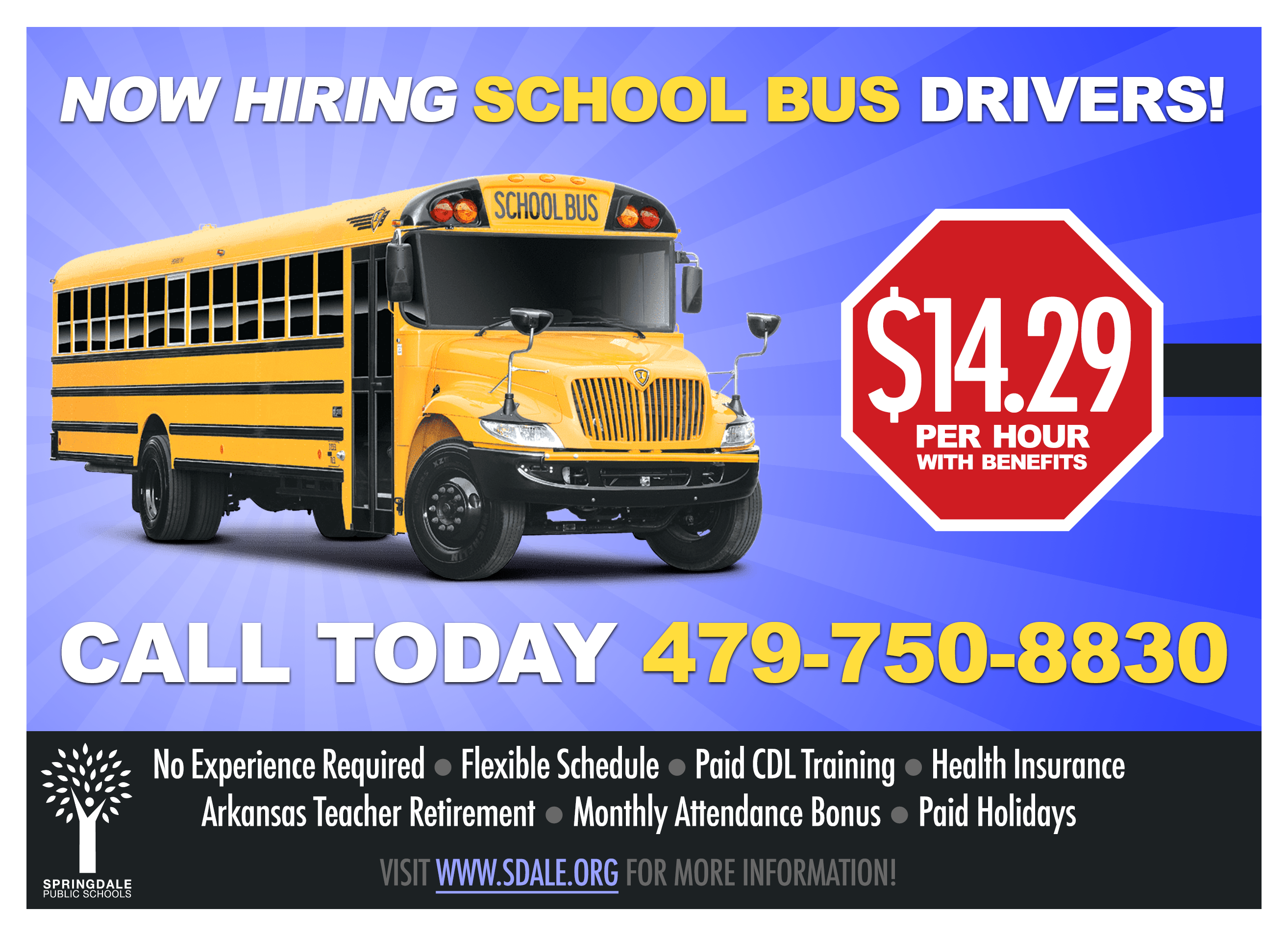 Now Hiring School Bus Drivers Graphic