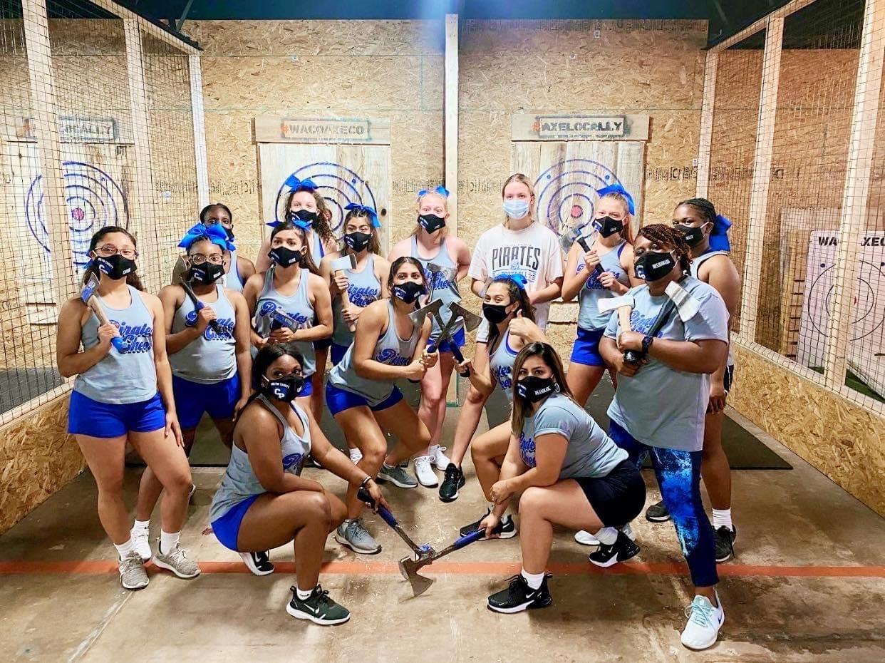Cheerleaders at Waco Axe Throwing Company