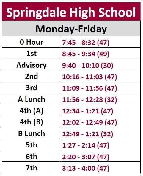 Springdale High School - Schedule
