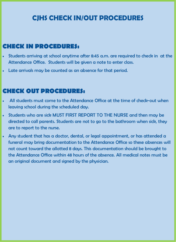 CJHS CHECK IN/OUT PROCEDURES INFO