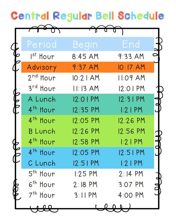 Central Regular Bell Schedule