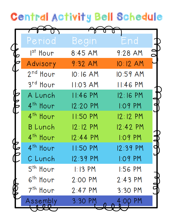 Central activity Bell Schedule