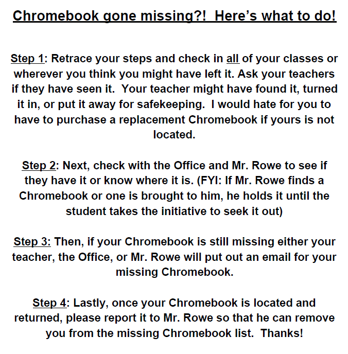 Chromebook gone missing?! Here's what to do!