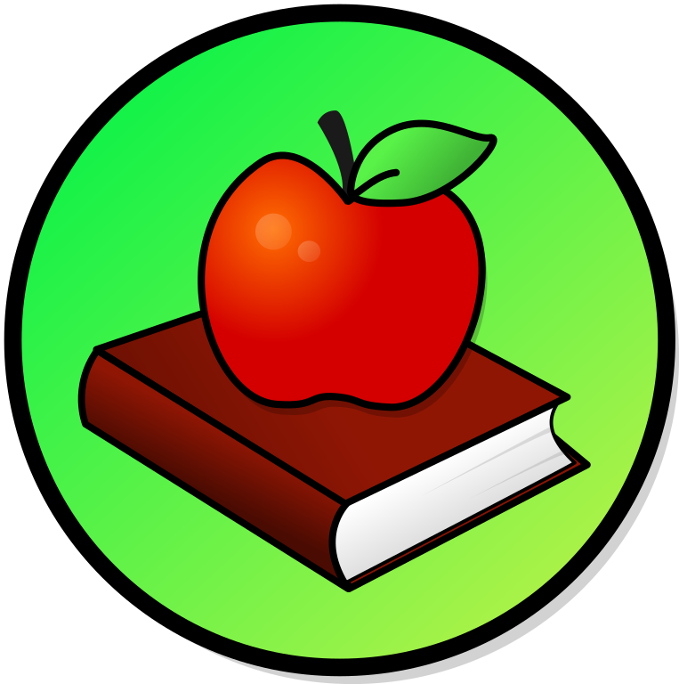 Image of a book and an apple.