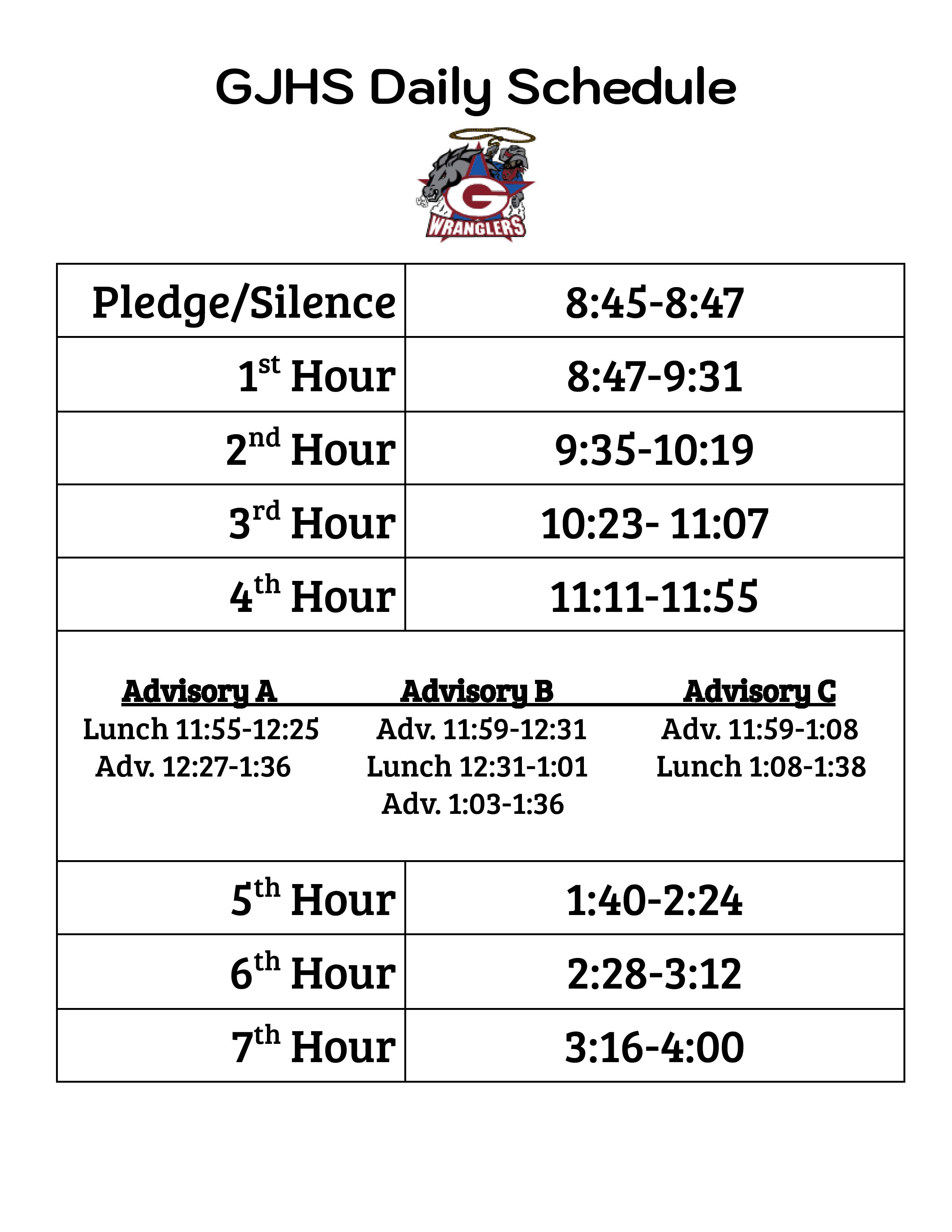 GJHS Bell Schedule