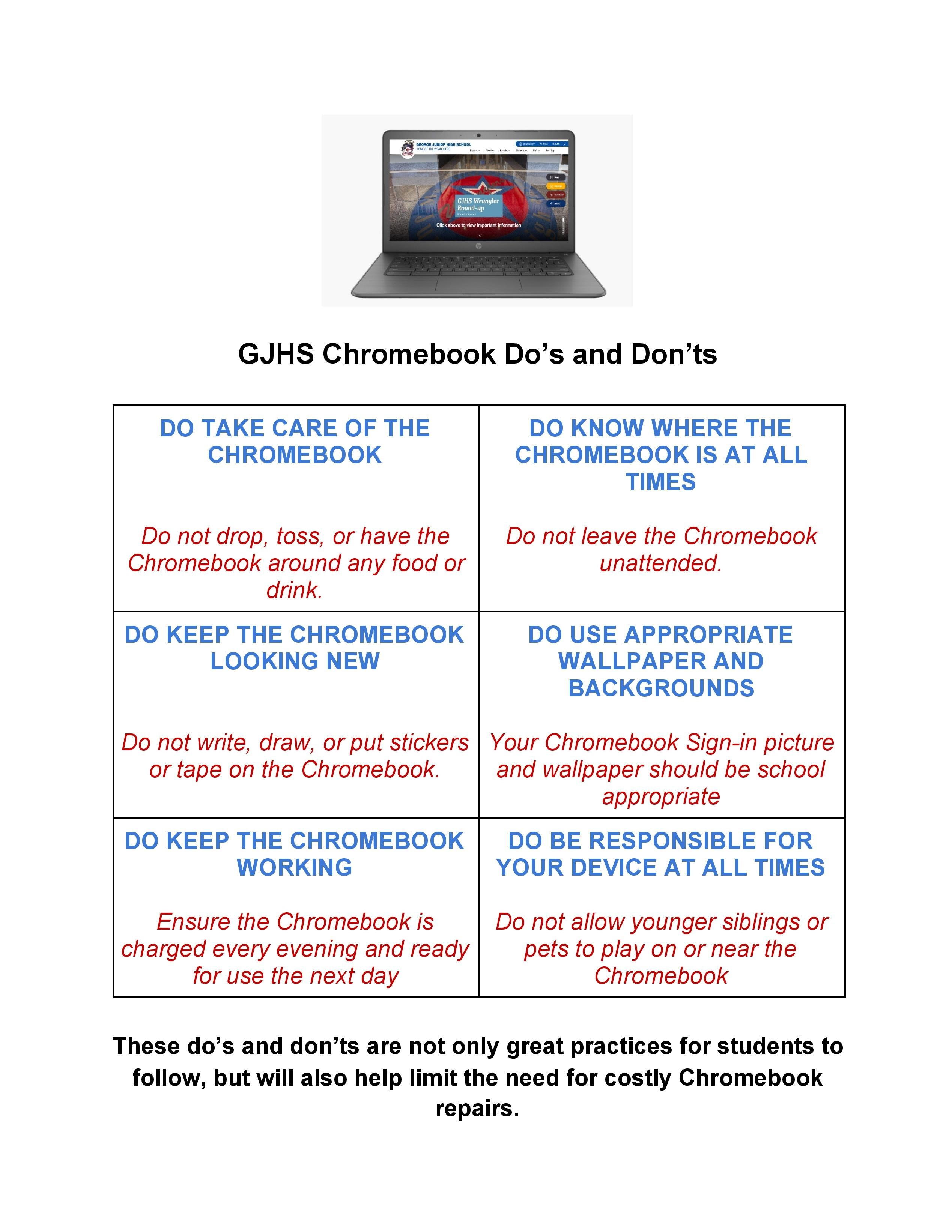 Chromebook Do's and Don'ts