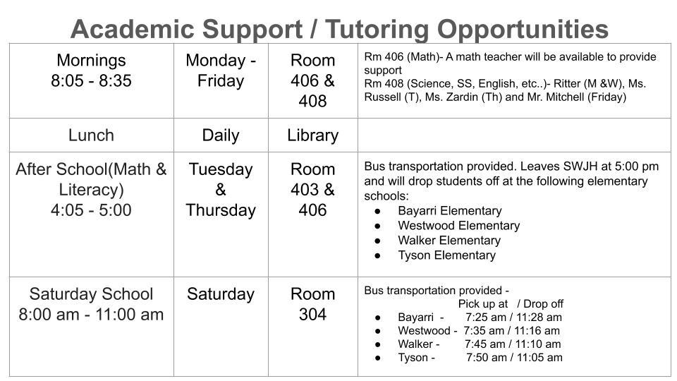 Academic Support / Tutoring Opportunities - info