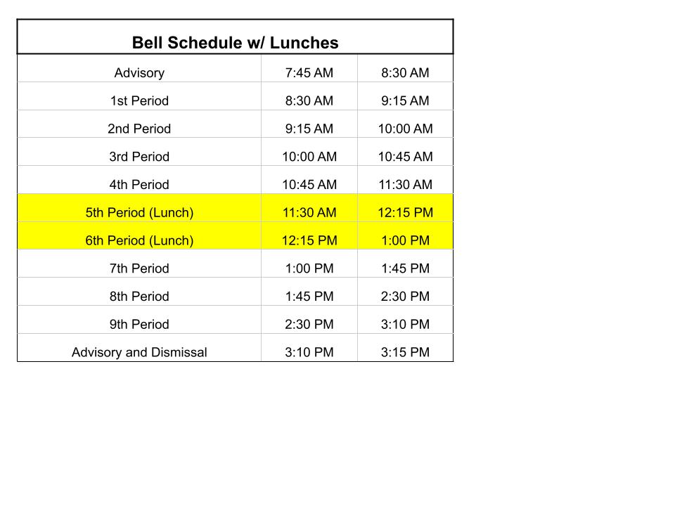 Bell Schedule w/lunches