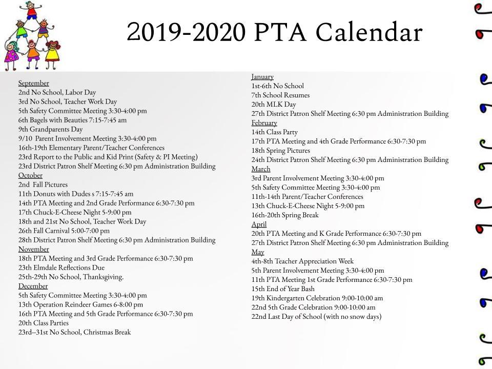 2019 - 2020 PTA Calendar