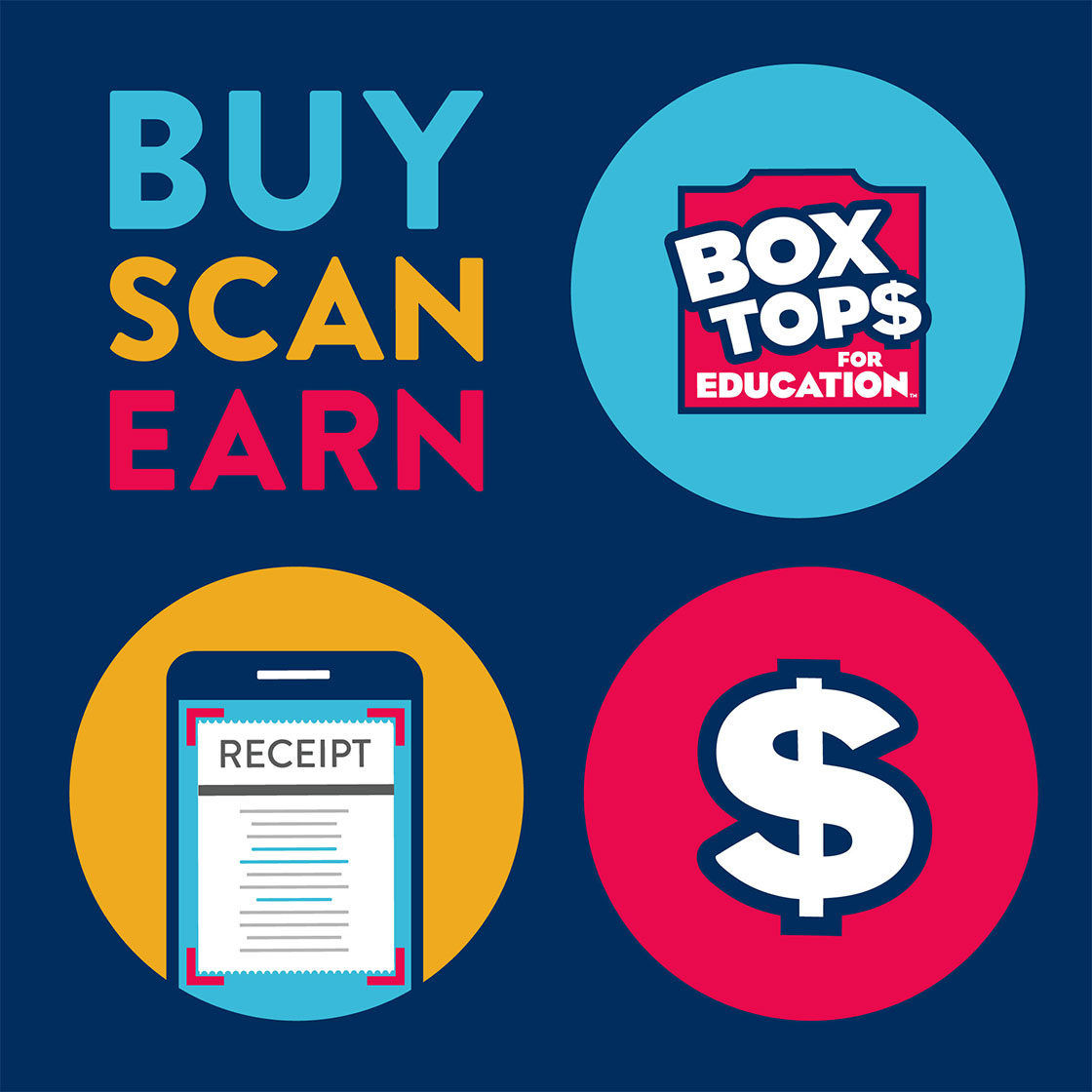 BUY SCAN EARN - BOX TOPS FOR EDUCATION
