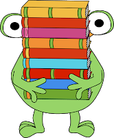 Image of a Frog carrying books.