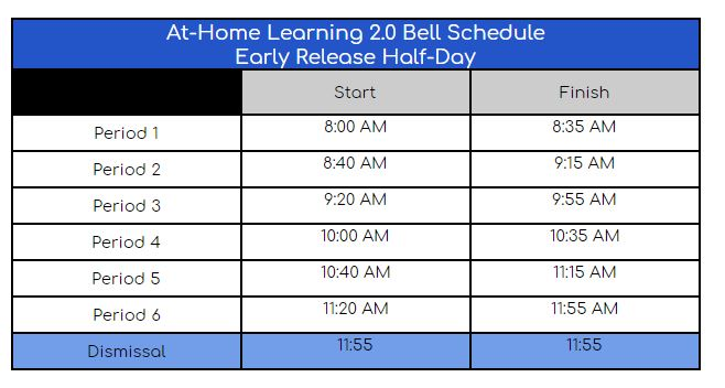 At-Home Learning 2.0 Bell Schedule Early Release Half-Day
