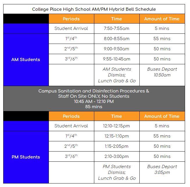 Hybrid AM/PM Bell Schedule