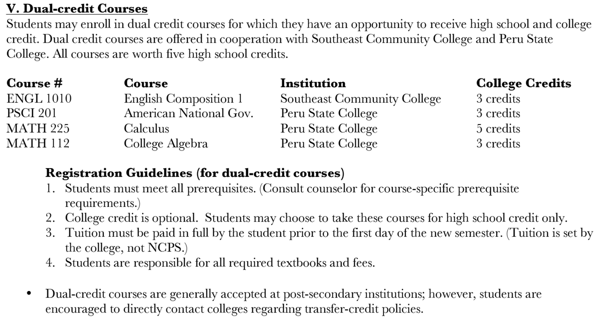 DUAL-CREDIT COURSES INFO