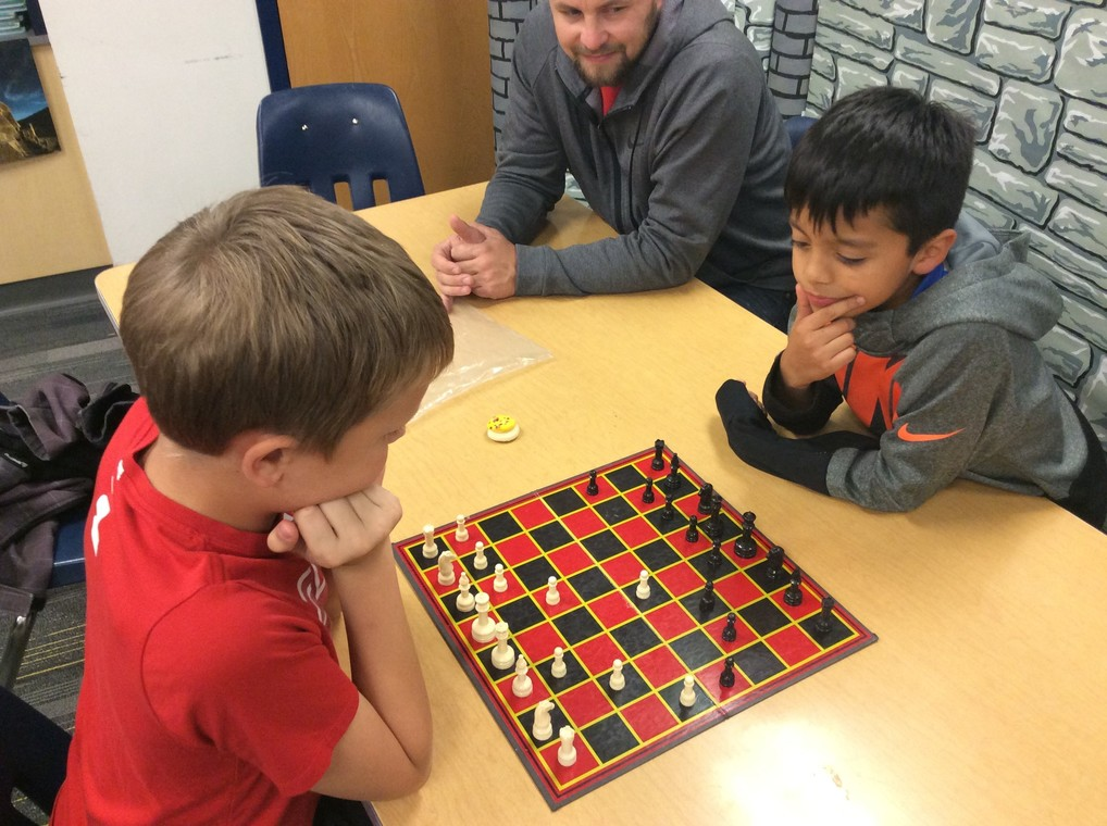 Game Night with Two Kids playing chess