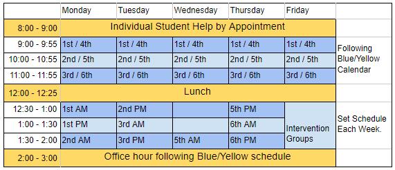 English student help schedule