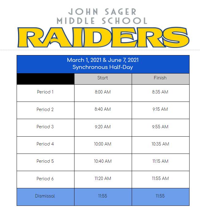 Half Day Bell Schedule