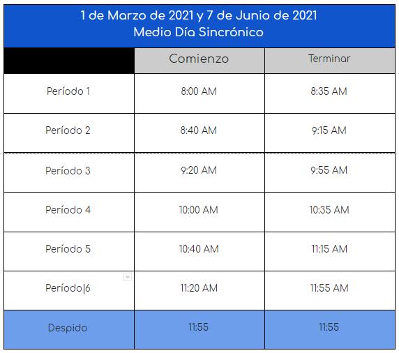 Half Day Bell Schedule Spn