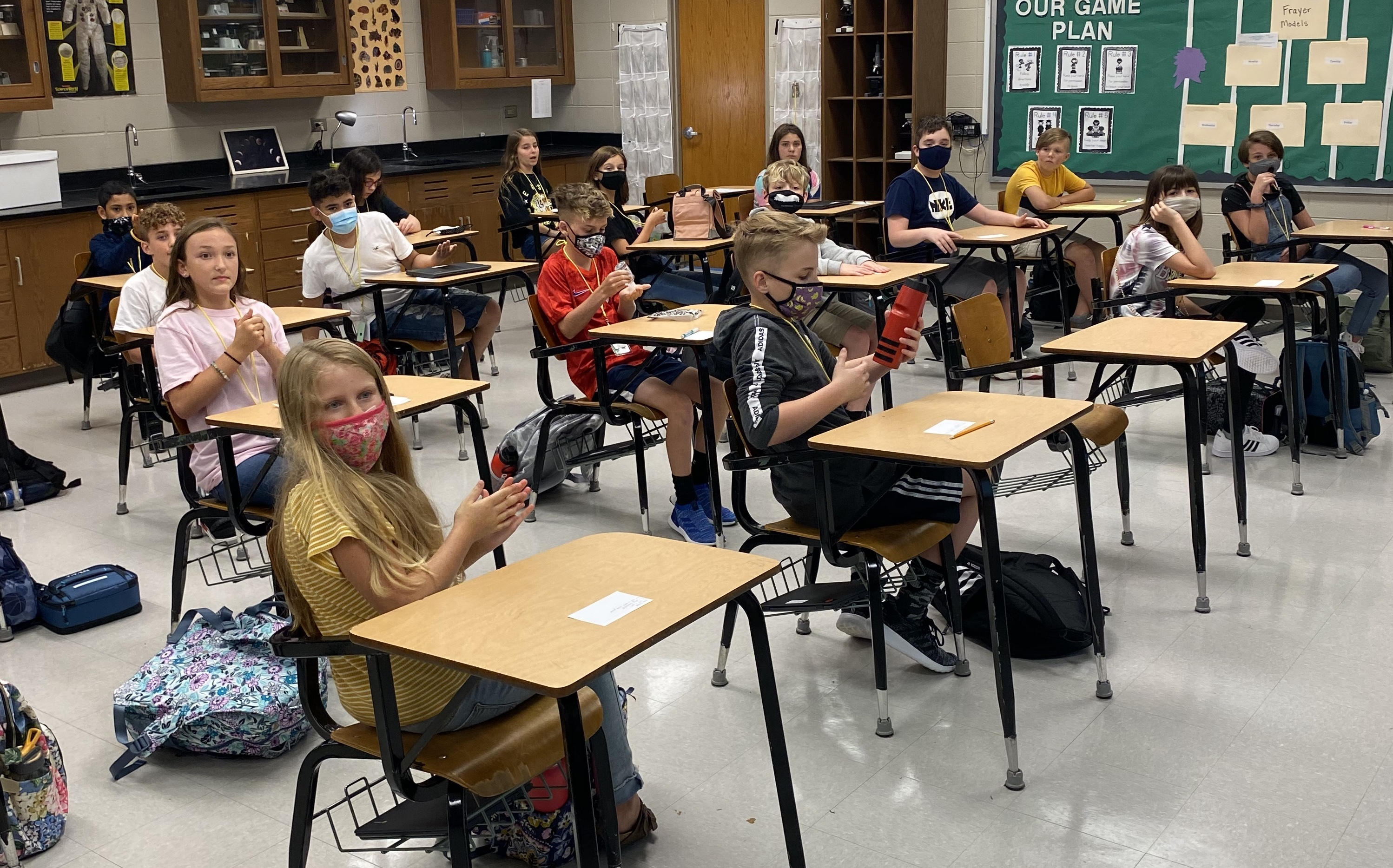 Wearing face coverings and social distancing is the new normal for educators and students in Lumpkin County Schools. #FocusedForward