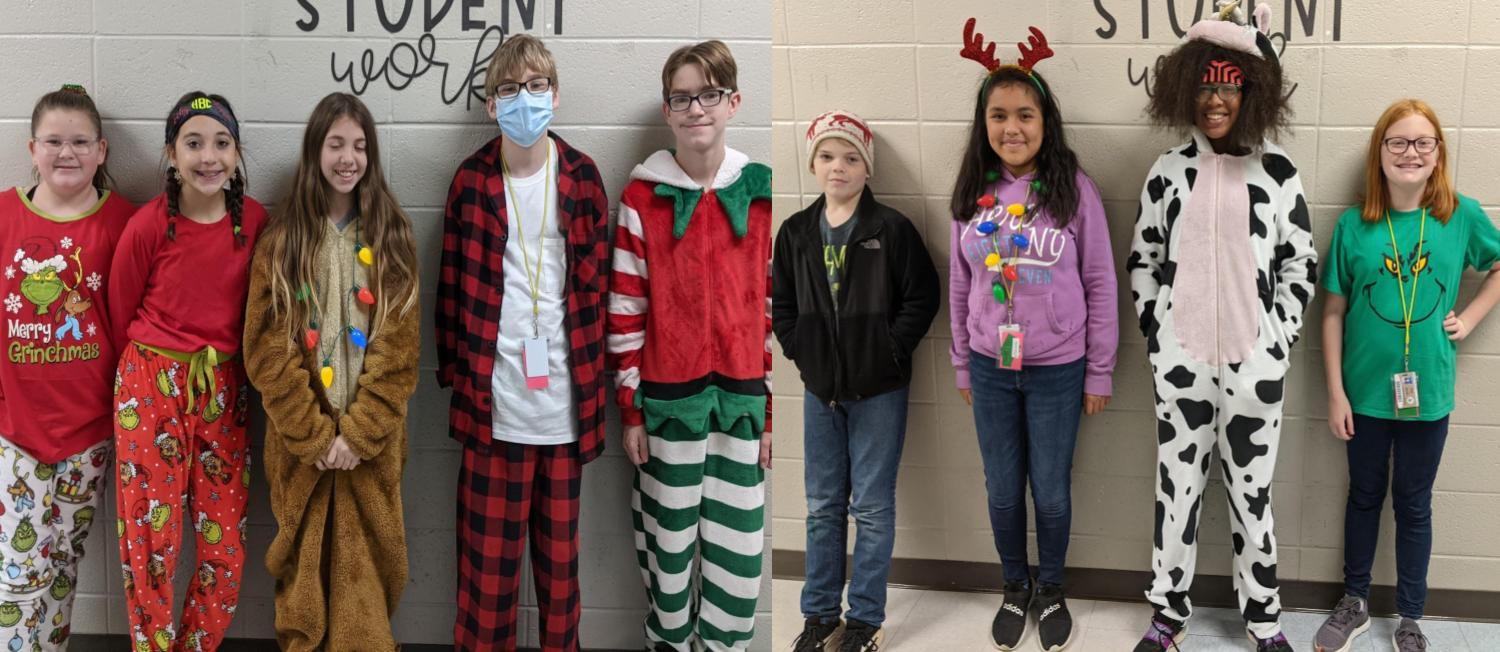 Students dressed up for holiday character day for school spirit week.