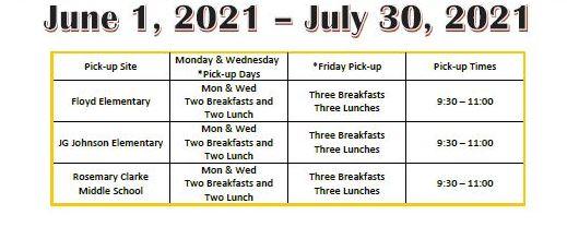 Pahrump Summer Schedule