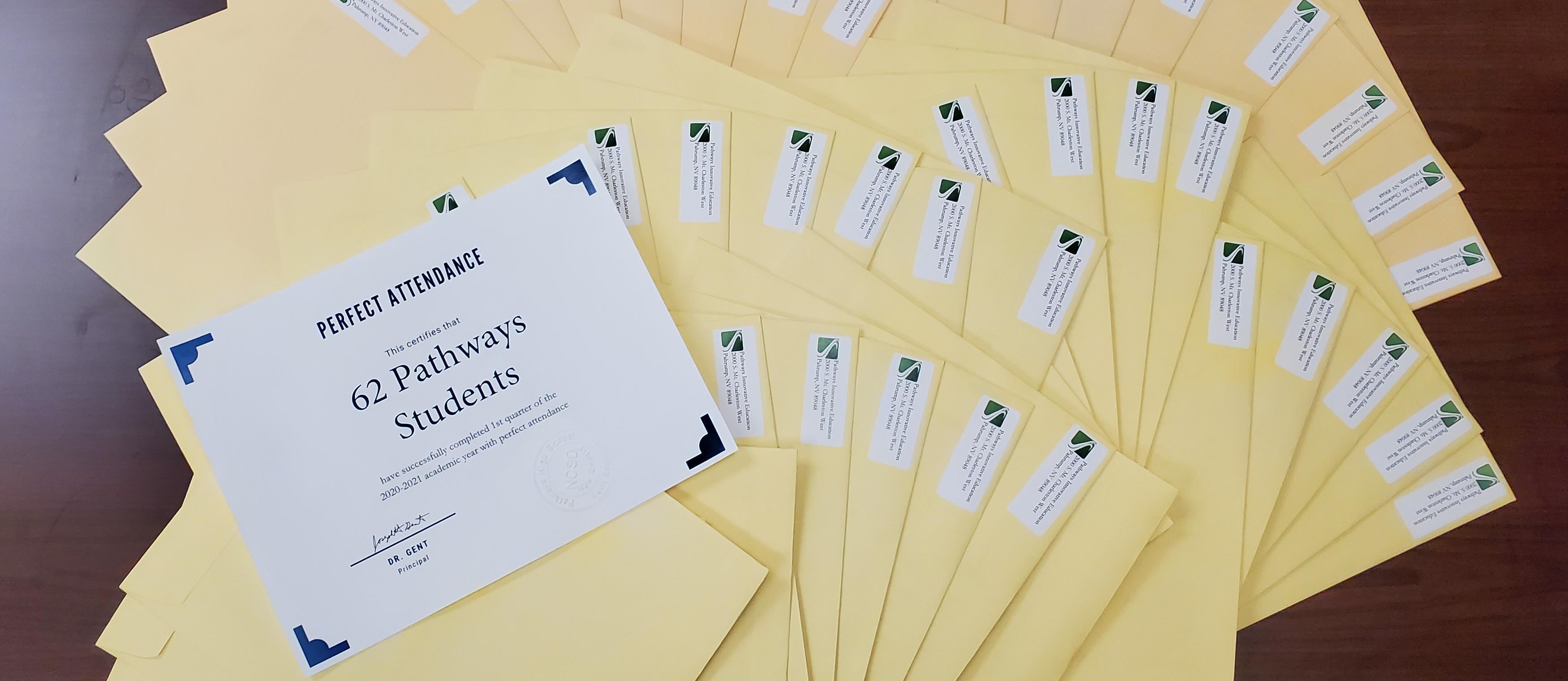 Pathways Perfect Attendance Certificates