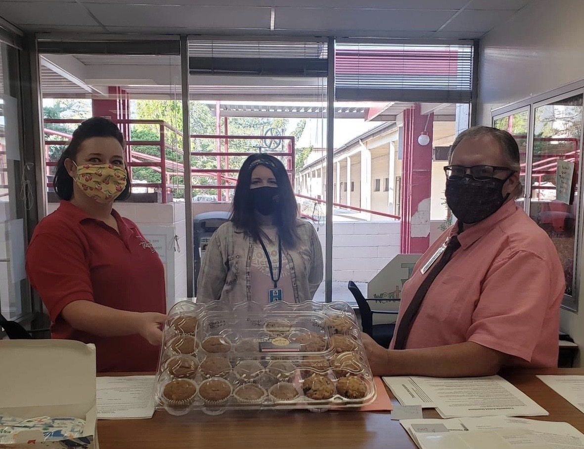 The Tonopah Times Bonanza recognized the hardwork of our TES/TMHS staff bringing by muffins after the first week of school!!