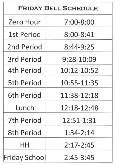 Friday Bell Schedule