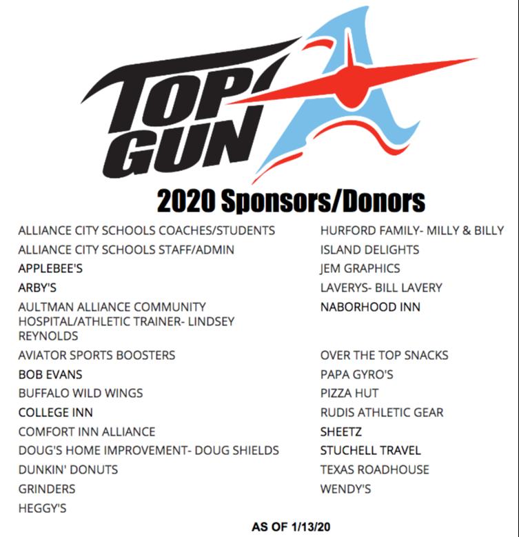 Top Gun 2020 Sponsors/Donors