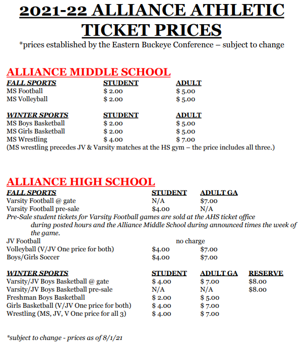 21-22 ticket prices