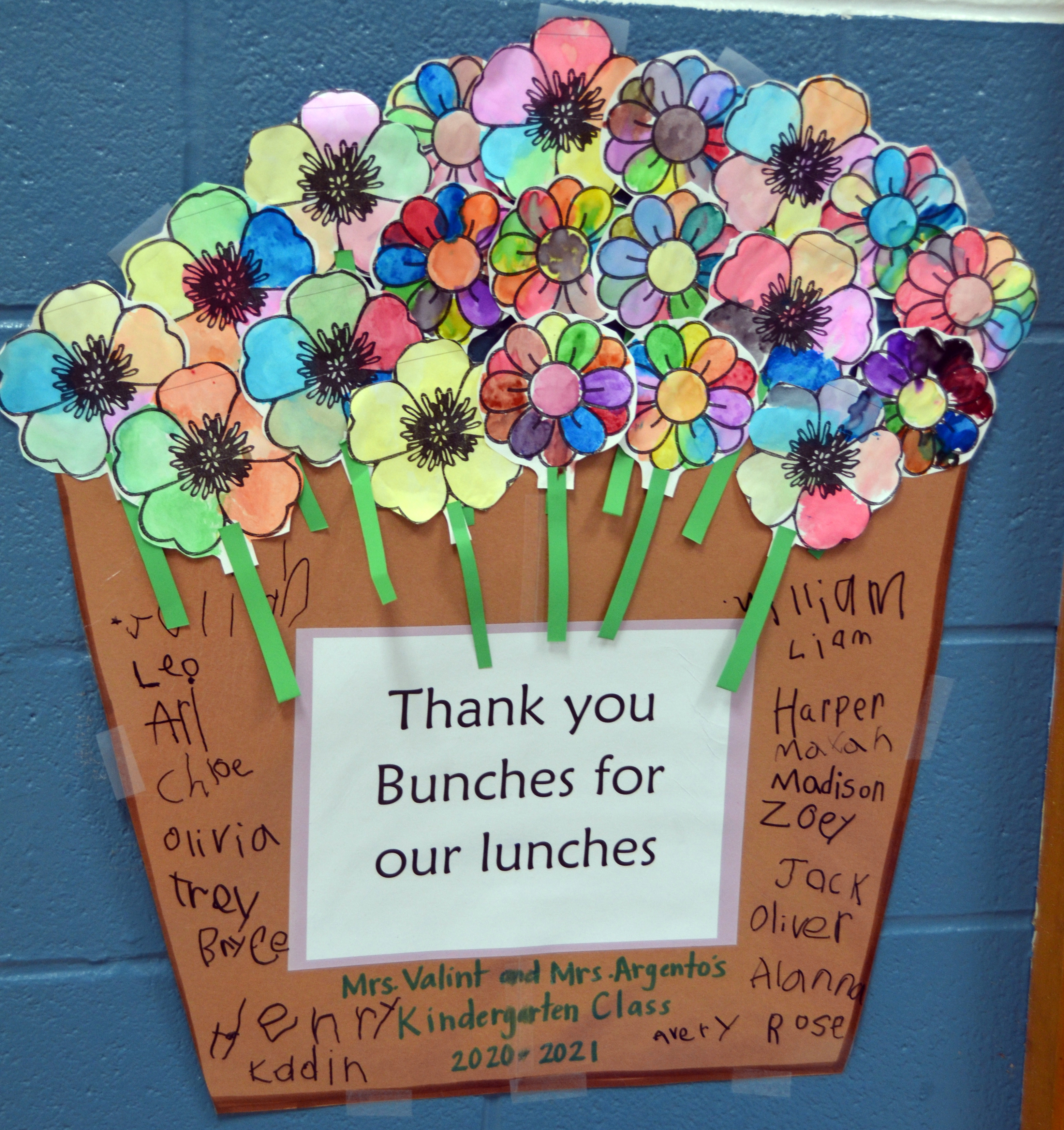 """poster artwork of flowers """"Thank you bunches for the lunches""""."""